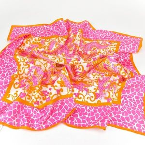 "GRETCHEN SCOTT: Pink/White & ""Dragons"", Silk Scarf"